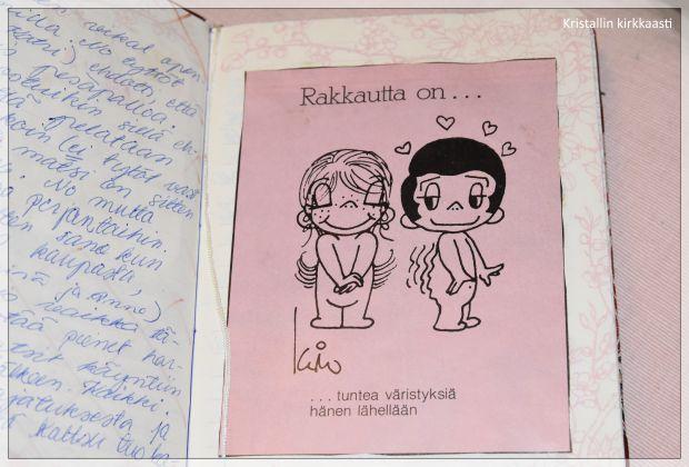 Ote päiväkirjastani 10.5.1986. Muisto silloin niin pinnalla olleet Rakkautta on... kuvasta. Muistatko?