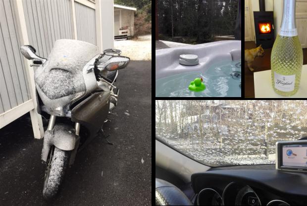 Vappusää 2017: Uima-ankka Hilton kellui raesateessa, aamupakkanen kuurasi auton tuulilasin upeilla lumihiutaleilla, joten vappua vietettiin takkatulenloimutessa skumpalla skoolaten.